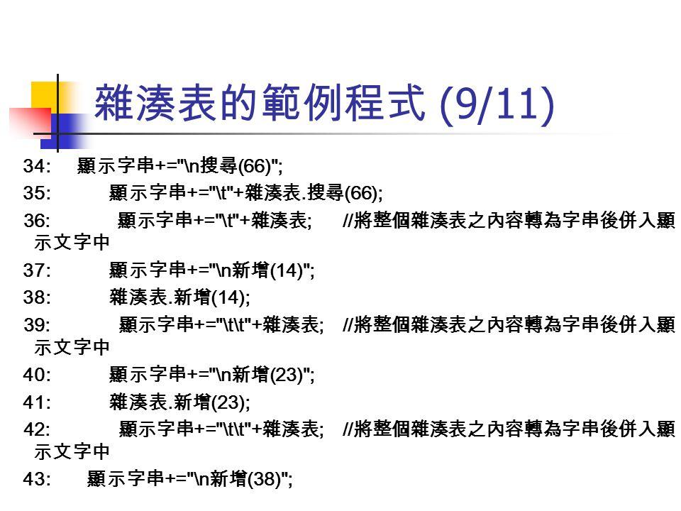 雜湊表的範例程式 (9/11) 34: 顯示字串 +=