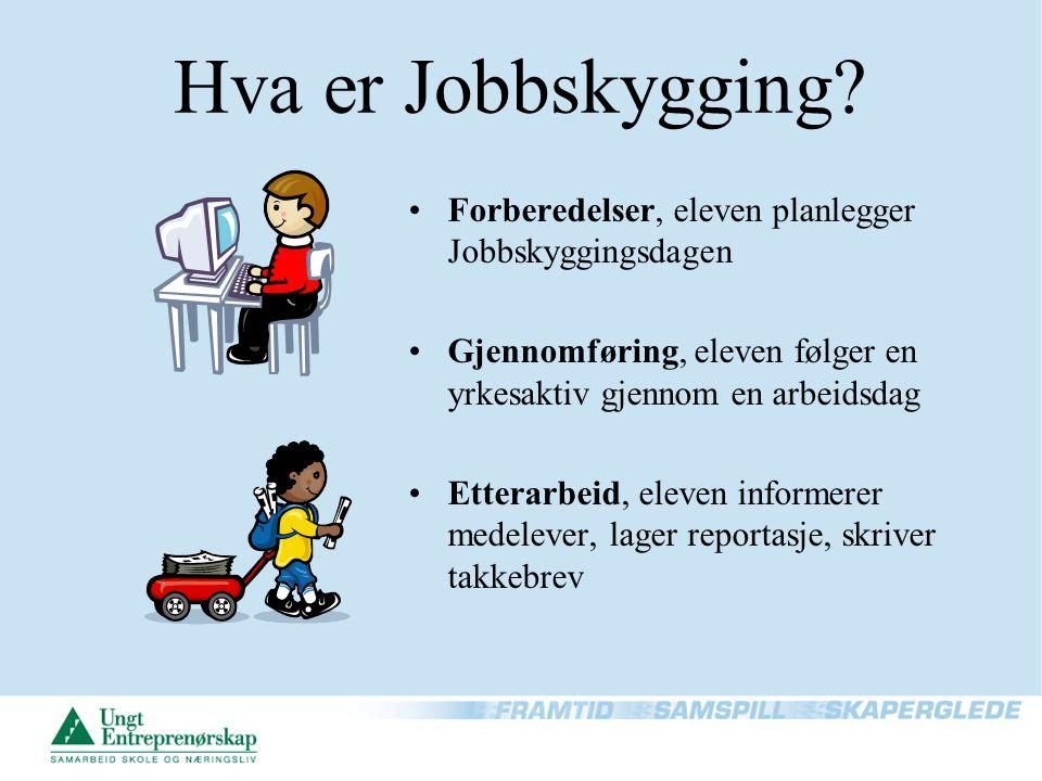 Hva er Jobbskygging? Forberedelser, eleven planlegger Jobbskyggingsdagen Gjennomføring, eleven følger en yrkesaktiv gjennom en arbeidsdag Etterarbeid,
