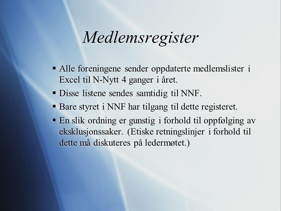 Medlemsregister  Alle foreningene sender oppdaterte medlemslister i Excel til N-Nytt 4 ganger i året.  Disse listene sendes samtidig til NNF.  Bare