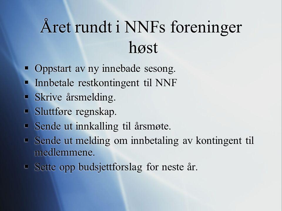 Året rundt i NNFs foreninger høst  Oppstart av ny innebade sesong.  Innbetale restkontingent til NNF  Skrive årsmelding.  Sluttføre regnskap.  Se