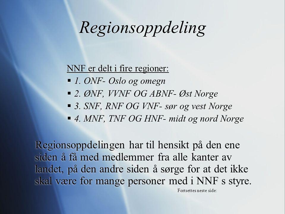 Regionsoppdeling NNF er delt i fire regioner:  1. ONF- Oslo og omegn  2. ØNF, VVNF OG ABNF- Øst Norge  3. SNF, RNF OG VNF- sør og vest Norge  4. M