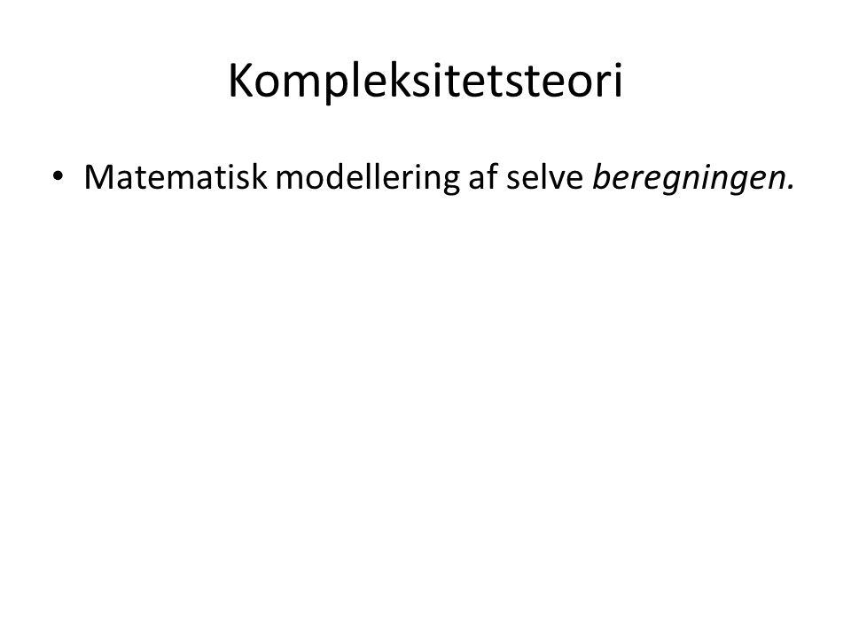 Kompleksitetsteori Matematisk modellering af selve beregningen.