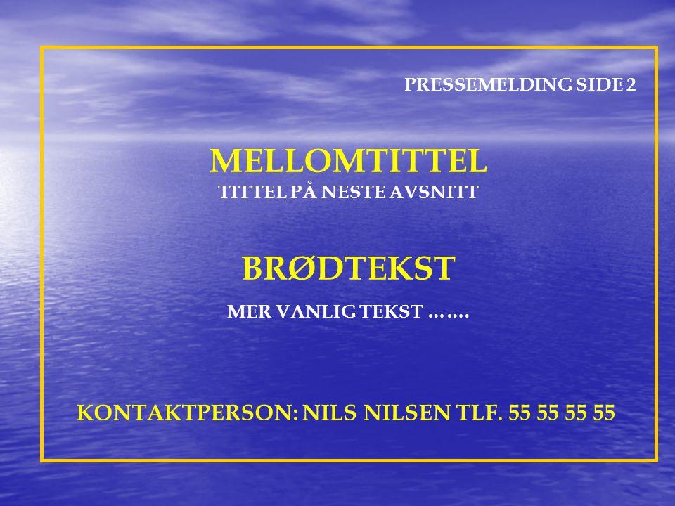 PRESSEMELDING SIDE 2 MELLOMTITTEL TITTEL PÅ NESTE AVSNITT BRØDTEKST MER VANLIG TEKST …….