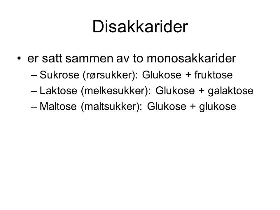 Disakkarider er satt sammen av to monosakkarider –Sukrose (rørsukker): Glukose + fruktose –Laktose (melkesukker): Glukose + galaktose –Maltose (maltsu