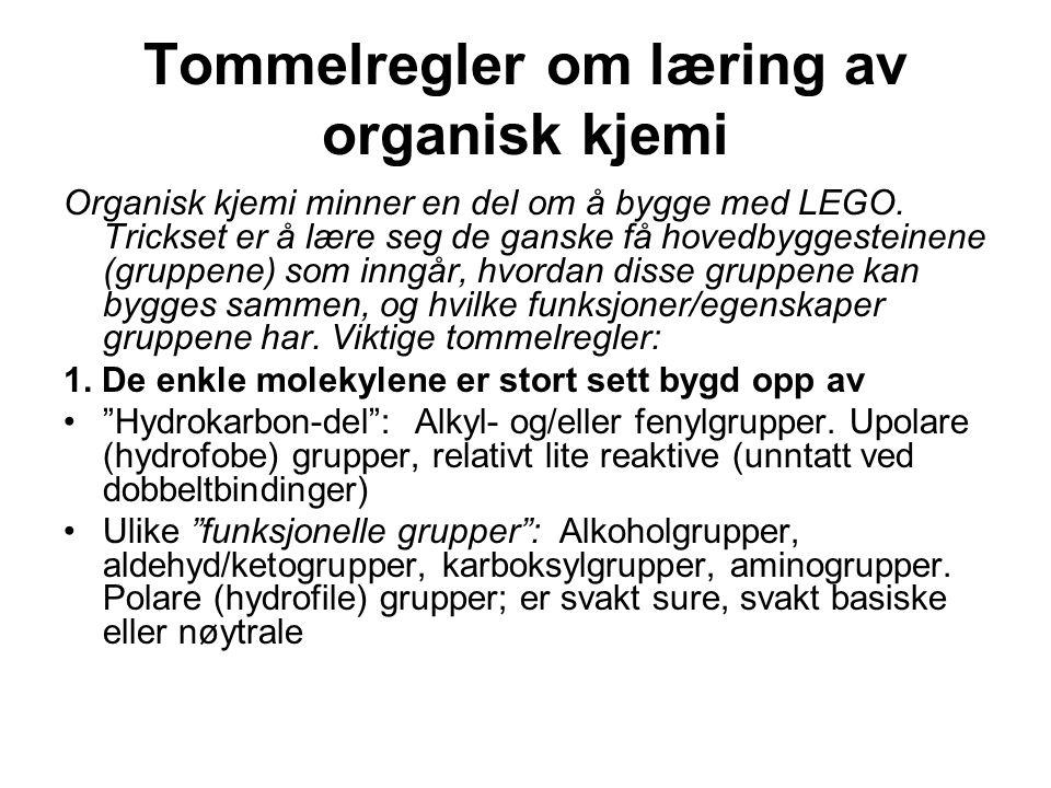 Tommelregler om læring av organisk kjemi Organisk kjemi minner en del om å bygge med LEGO. Trickset er å lære seg de ganske få hovedbyggesteinene (gru