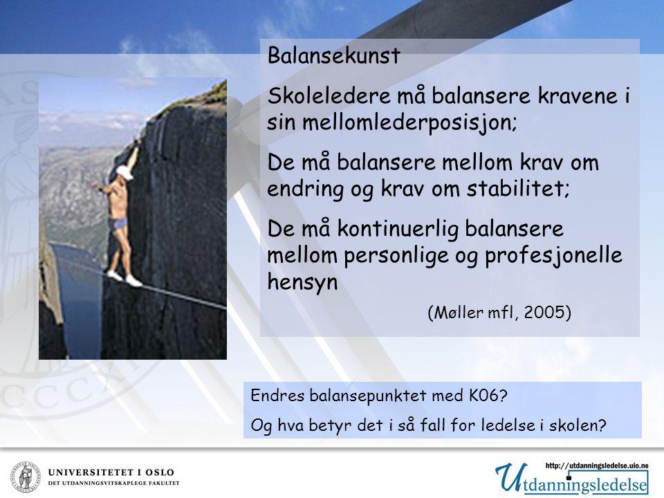 Balansekunst Skoleledere må balansere kravene i sin mellomlederposisjon; De må balansere mellom krav om endring og krav om stabilitet; De må kontinuerlig balansere mellom personlige og profesjonelle hensyn (Møller mfl, 2005) Endres balansepunktet med K06.