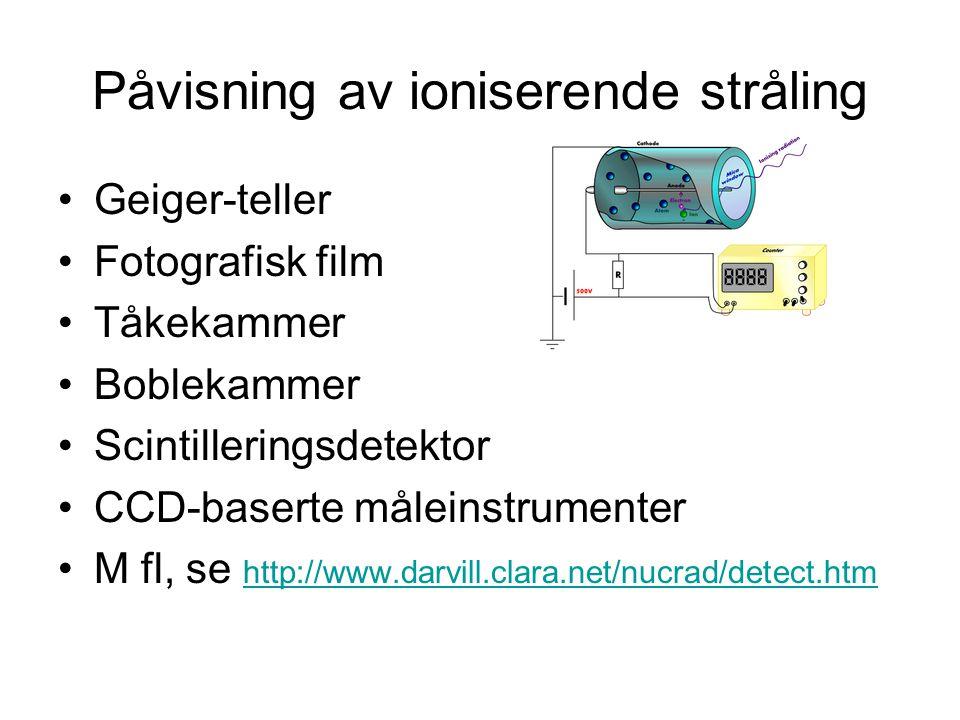 Påvisning av ioniserende stråling Geiger-teller Fotografisk film Tåkekammer Boblekammer Scintilleringsdetektor CCD-baserte måleinstrumenter M fl, se http://www.darvill.clara.net/nucrad/detect.htm http://www.darvill.clara.net/nucrad/detect.htm