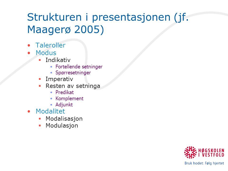 Strukturen i presentasjonen (jf.