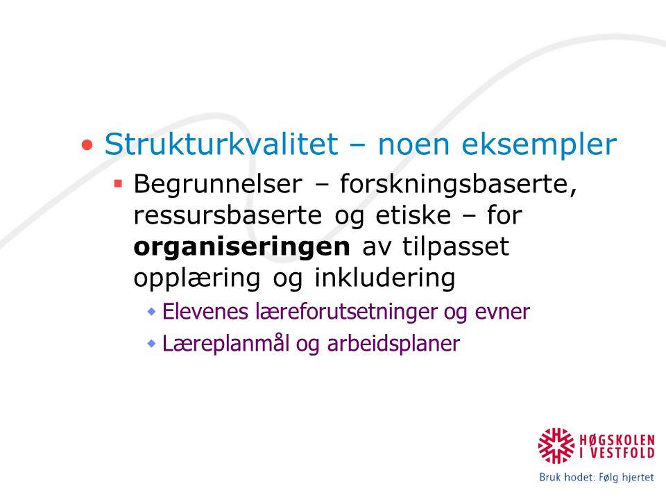 Strukturkvalitet – noen eksempler  Begrunnelser – forskningsbaserte, ressursbaserte og etiske – for organiseringen av tilpasset opplæring og inkludering  Elevenes læreforutsetninger og evner  Læreplanmål og arbeidsplaner