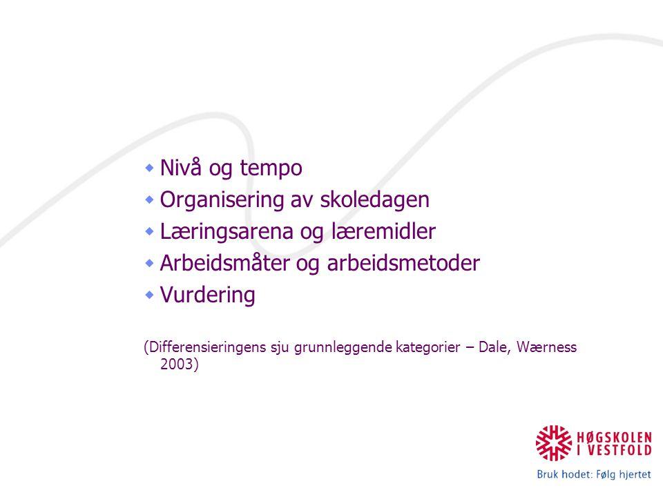  Nivå og tempo  Organisering av skoledagen  Læringsarena og læremidler  Arbeidsmåter og arbeidsmetoder  Vurdering (Differensieringens sju grunnleggende kategorier – Dale, Wærness 2003)