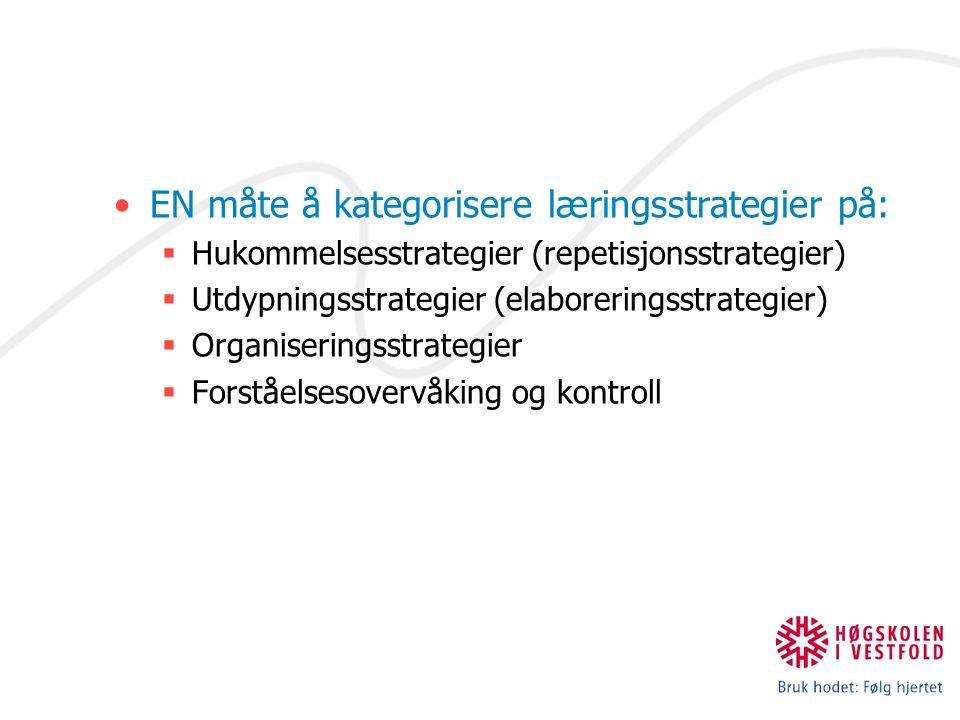 EN måte å kategorisere læringsstrategier på:  Hukommelsesstrategier (repetisjonsstrategier)  Utdypningsstrategier (elaboreringsstrategier)  Organiseringsstrategier  Forståelsesovervåking og kontroll