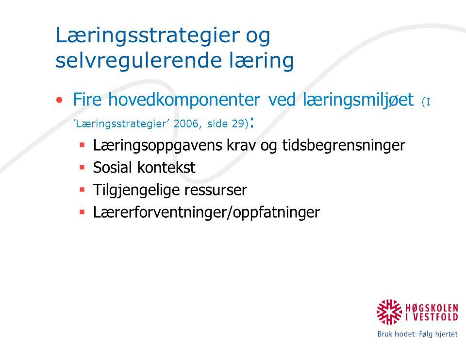 Læringsstrategier og selvregulerende læring Fire hovedkomponenter ved læringsmiljøet (I 'Læringsstrategier' 2006, side 29) :  Læringsoppgavens krav og tidsbegrensninger  Sosial kontekst  Tilgjengelige ressurser  Lærerforventninger/oppfatninger
