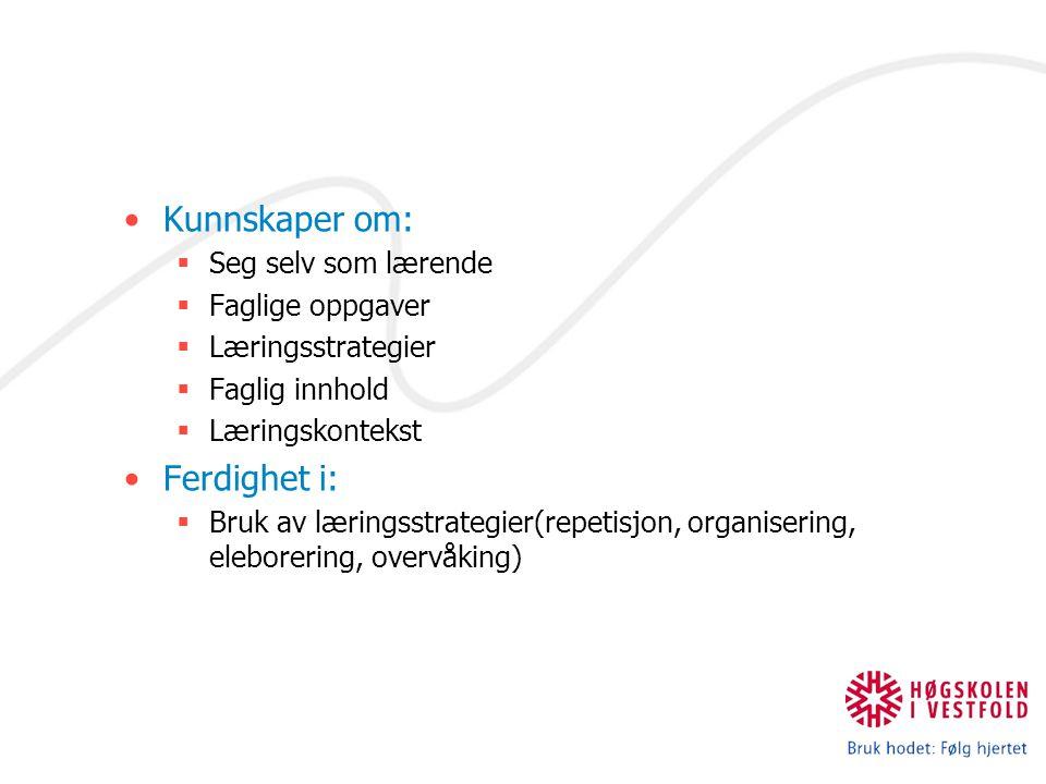 Kunnskaper om:  Seg selv som lærende  Faglige oppgaver  Læringsstrategier  Faglig innhold  Læringskontekst Ferdighet i:  Bruk av læringsstrategier(repetisjon, organisering, eleborering, overvåking)