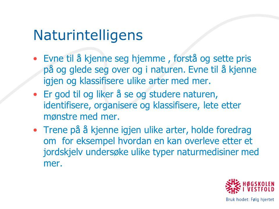 Naturintelligens Evne til å kjenne seg hjemme, forstå og sette pris på og glede seg over og i naturen.