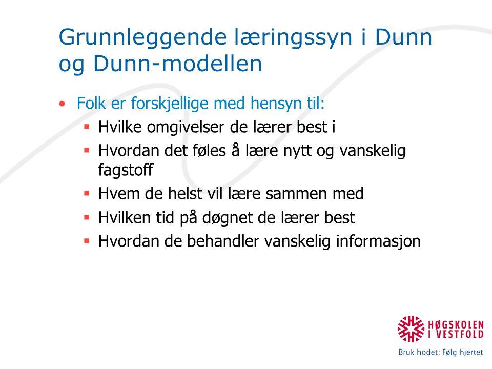 Grunnleggende læringssyn i Dunn og Dunn-modellen Folk er forskjellige med hensyn til:  Hvilke omgivelser de lærer best i  Hvordan det føles å lære nytt og vanskelig fagstoff  Hvem de helst vil lære sammen med  Hvilken tid på døgnet de lærer best  Hvordan de behandler vanskelig informasjon