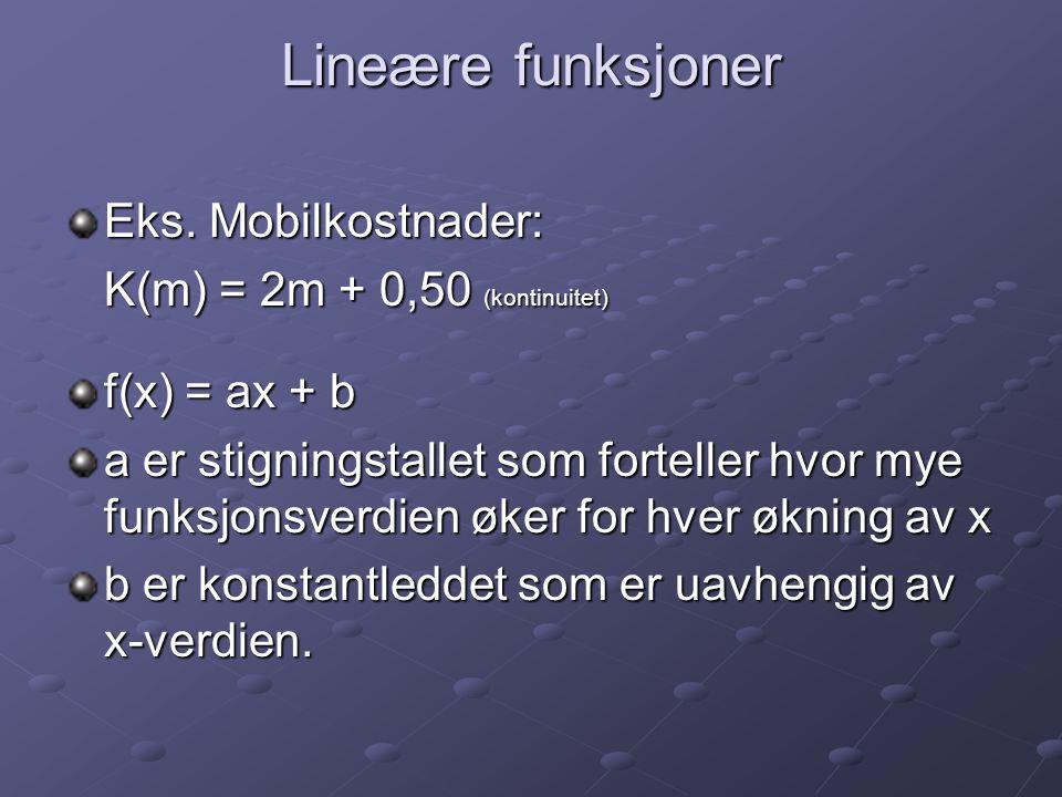 Lineære funksjoner Eks. Mobilkostnader: K(m) = 2m + 0,50 (kontinuitet) f(x) = ax + b a er stigningstallet som forteller hvor mye funksjonsverdien øker