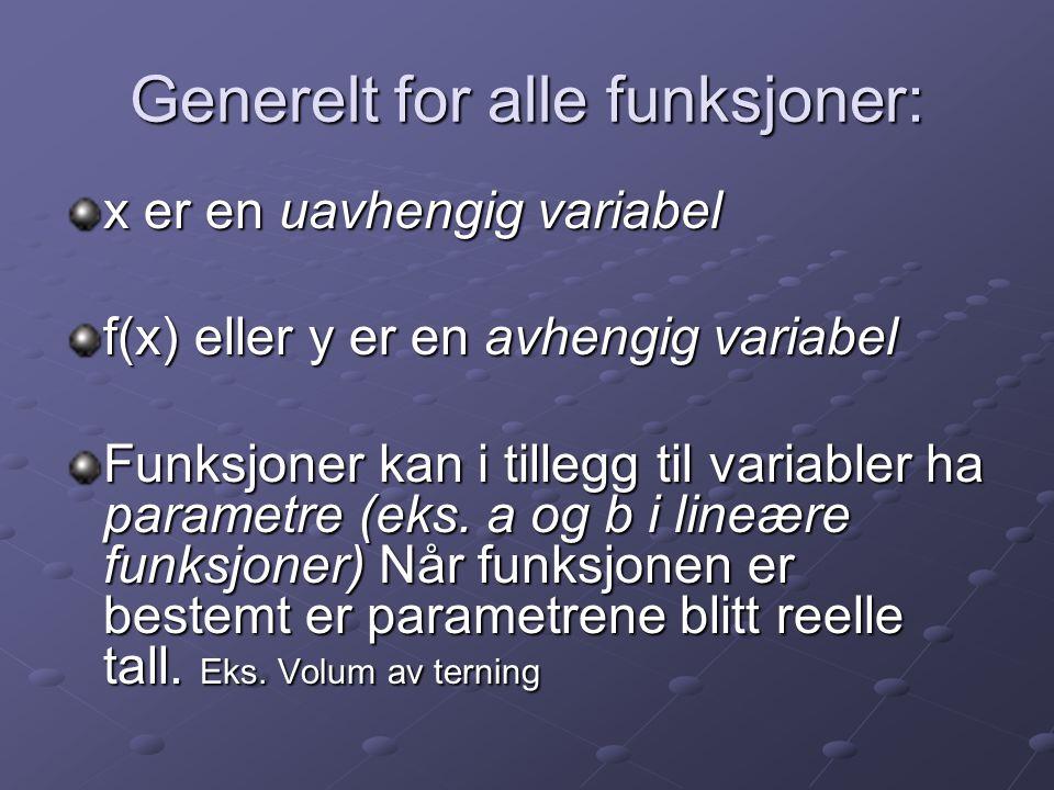 Generelt for alle funksjoner: x er en uavhengig variabel f(x) eller y er en avhengig variabel Funksjoner kan i tillegg til variabler ha parametre (eks.