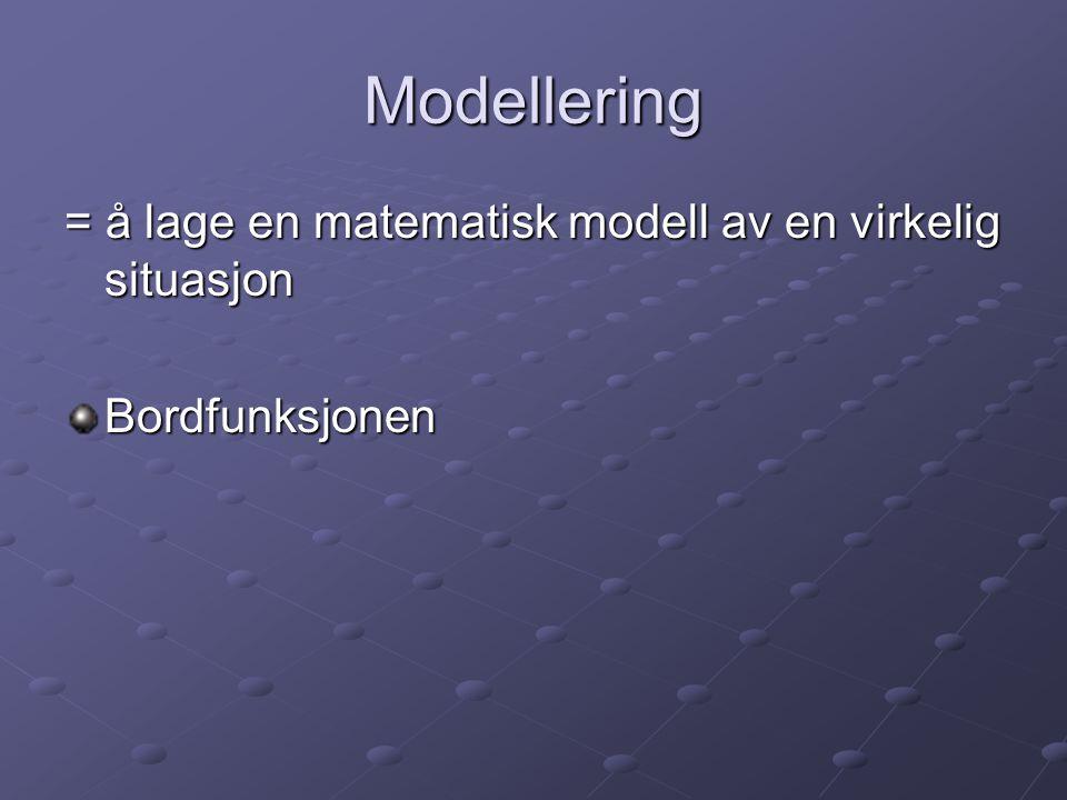 Modellering = å lage en matematisk modell av en virkelig situasjon Bordfunksjonen