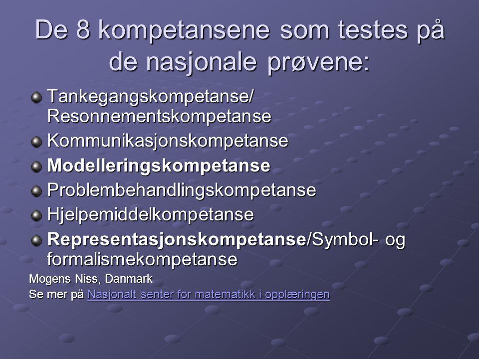 De 8 kompetansene som testes på de nasjonale prøvene: Tankegangskompetanse/ Resonnementskompetanse KommunikasjonskompetanseModelleringskompetanseProbl