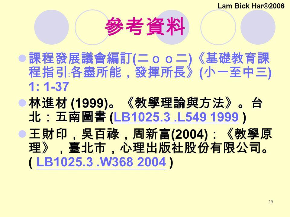 19 參考資料 課程發展議會編訂 ( 二oo二 ) 《基礎教育課 程指引﹕各盡所能,發揮所長》 ( 小一至中三 ) 1: 1-37 林進材 (1999) 。《教學理論與方法》。台 北:五南圖書 (LB1025.3.L549 1999 ) 林進材 (1999) 。《教學理論與方法》。台 北:五南圖書 (LB1025.3.L549 1999 )LB1025.3.L549 1999LB1025.3.L549 1999 王財印,吳百祿,周新富 (2004) :《教學原 理》,臺北市,心理出版社股份有限公司。 ( LB1025.3.W368 2004 ) LB1025.3.W368 2004 Lam Bick Har©2006
