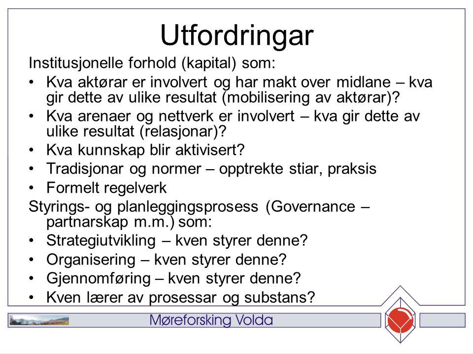 Datamaterialet Generell oversikt i fleire fylke, men hovudsakleg: Studiar av handlingsplanar og andre dokument frå Sogn og Fjordane og Nordland (2005) og Troms, Møre og Romsdal og Hedmark (2006).
