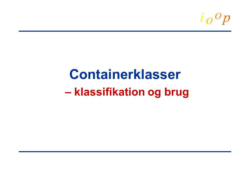 Containerklasser – klassifikation og brug