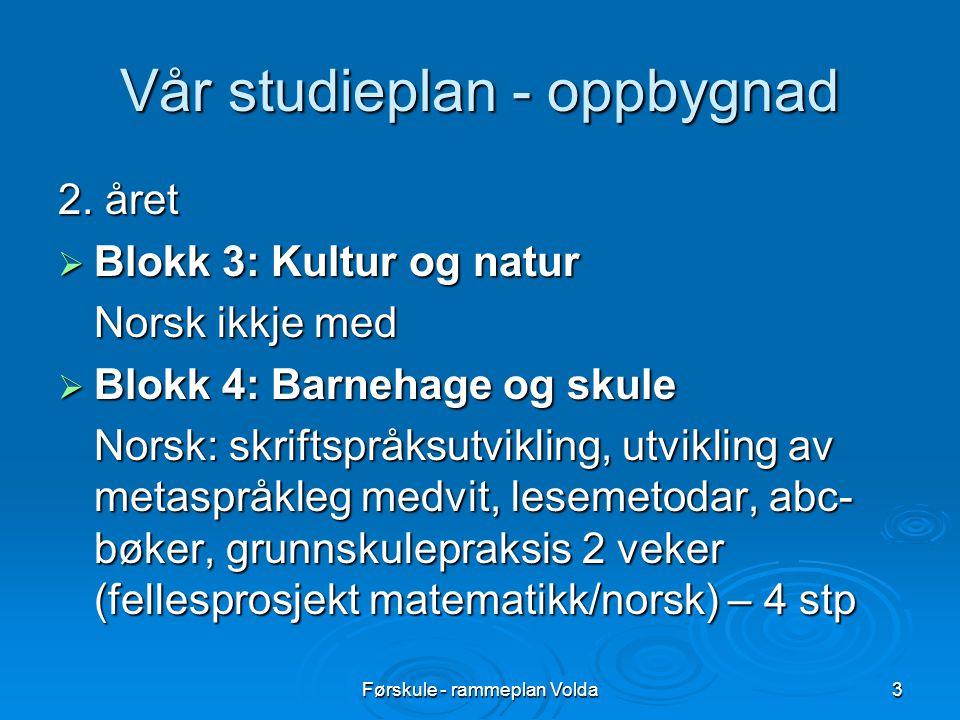 Førskule - rammeplan Volda3 Vår studieplan - oppbygnad 2. året  Blokk 3: Kultur og natur Norsk ikkje med  Blokk 4: Barnehage og skule Norsk: skrifts