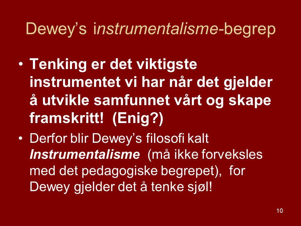 10 Dewey's instrumentalisme-begrep Tenking er det viktigste instrumentet vi har når det gjelder å utvikle samfunnet vårt og skape framskritt! (Enig?)