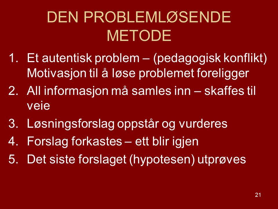 21 DEN PROBLEMLØSENDE METODE 1.Et autentisk problem – (pedagogisk konflikt) Motivasjon til å løse problemet foreligger 2.All informasjon må samles inn