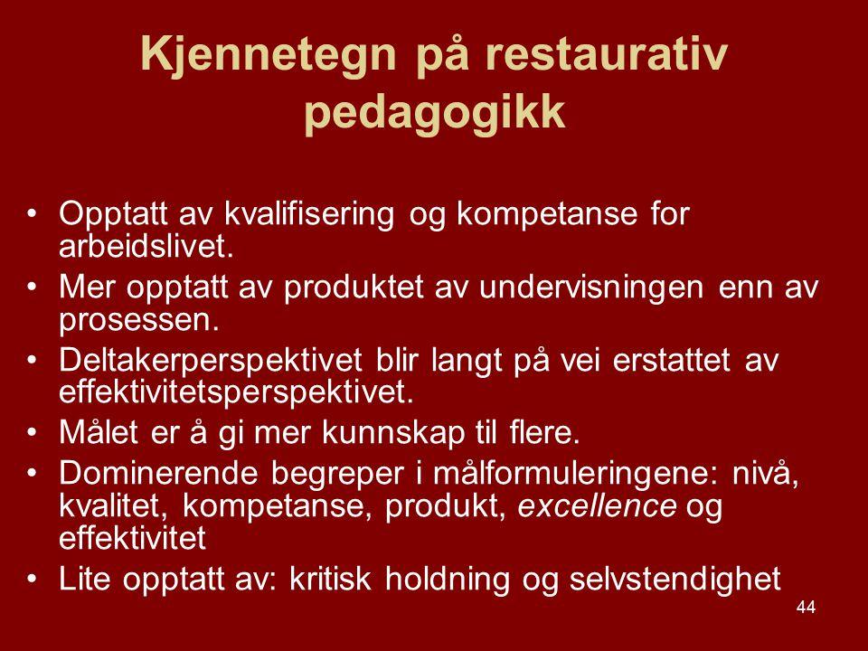 44 Kjennetegn på restaurativ pedagogikk Opptatt av kvalifisering og kompetanse for arbeidslivet. Mer opptatt av produktet av undervisningen enn av pro
