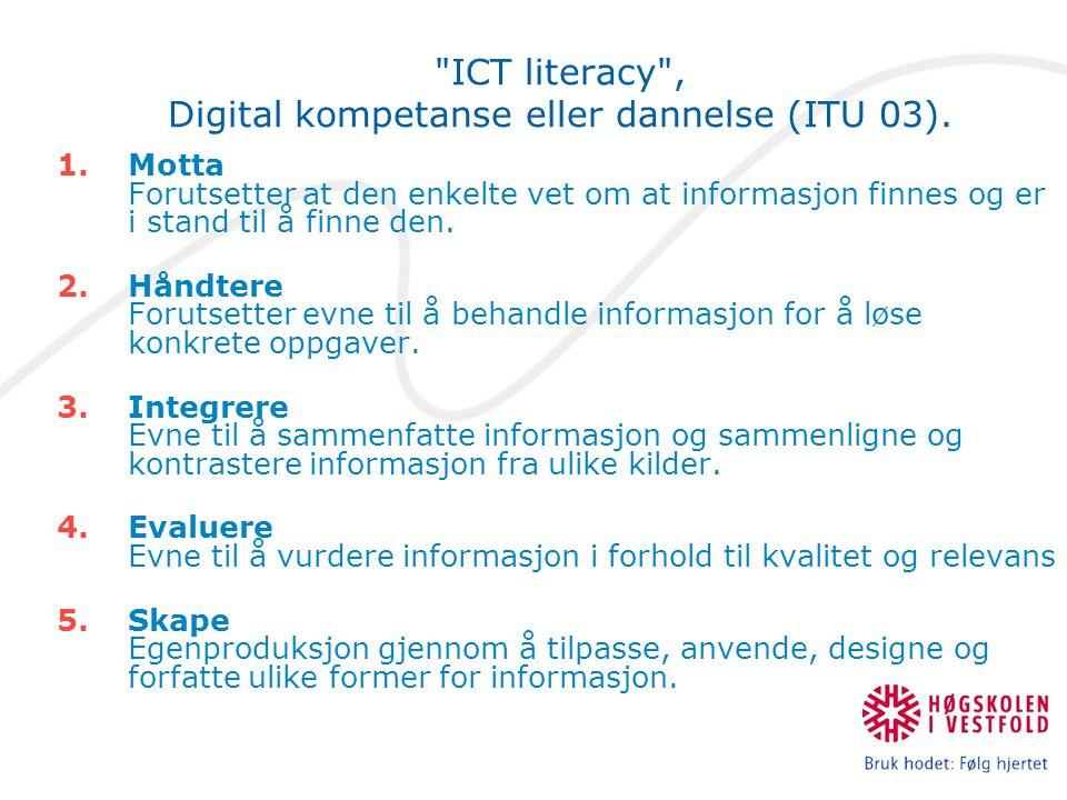 ICT literacy , Digital kompetanse eller dannelse (ITU 03).