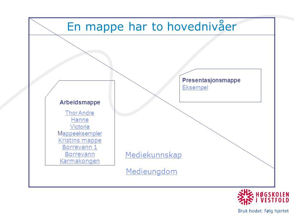 En mappe har to hovednivåer Mediekunnskap Medieungdom Arbeidsmappe Thor Andre Hanne Victoria Thor Andre Hanne Victoria Mappeeksempler Kristins mappeap
