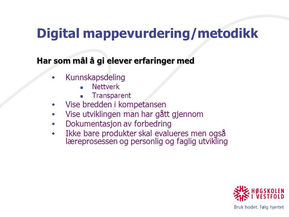 Digital mappevurdering/metodikk Har som mål å gi elever erfaringer med  Kunnskapsdeling Nettverk Transparent  Vise bredden i kompetansen  Vise utvi