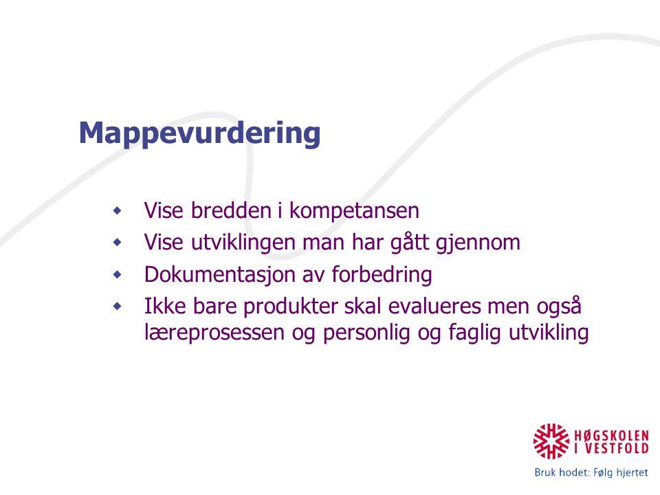 IKT og nye læreprosesser Mappevurdering  Vise bredden i kompetansen  Vise utviklingen man har gått gjennom  Dokumentasjon av forbedring  Ikke bare