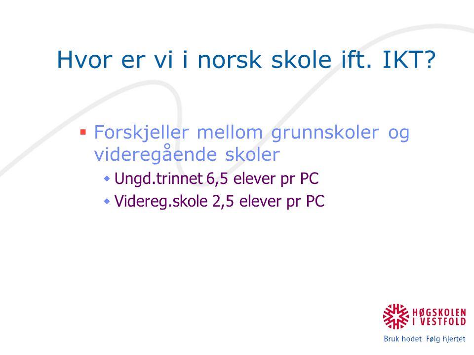 Hvor er vi i norsk skole ift. IKT?  Forskjeller mellom grunnskoler og videregående skoler  Ungd.trinnet 6,5 elever pr PC  Videreg.skole 2,5 elever