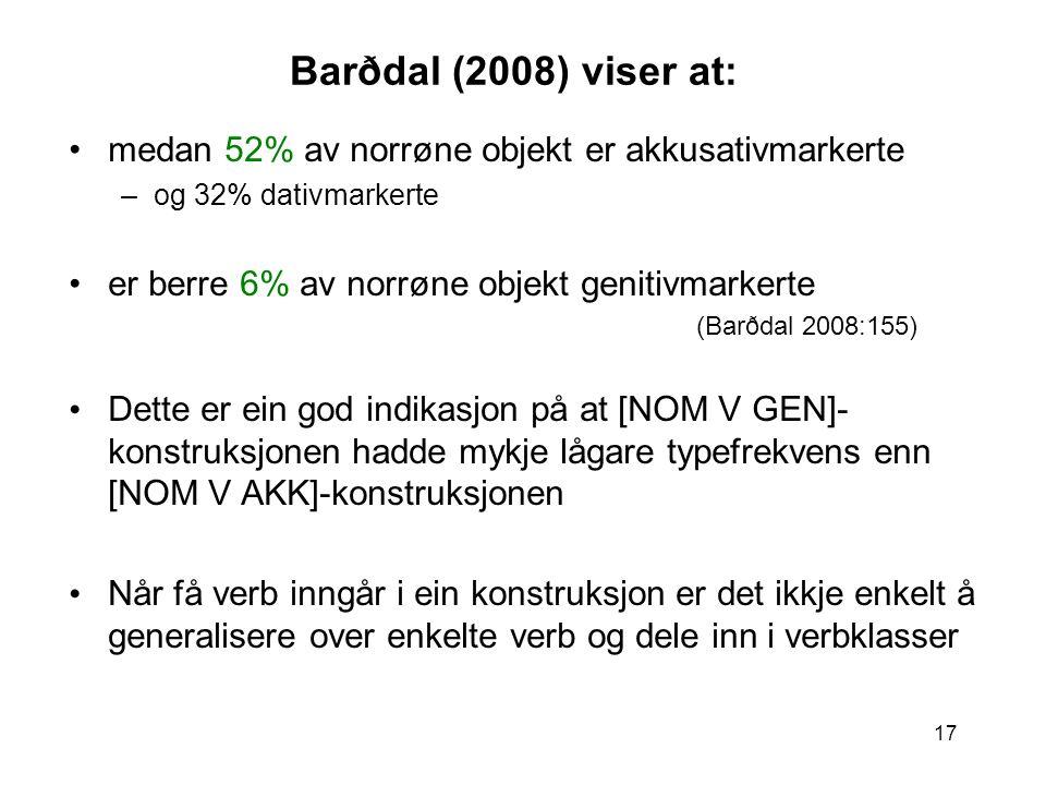 17 Barðdal (2008) viser at: medan 52% av norrøne objekt er akkusativmarkerte –og 32% dativmarkerte er berre 6% av norrøne objekt genitivmarkerte (Barðdal 2008:155) Dette er ein god indikasjon på at [NOM V GEN]- konstruksjonen hadde mykje lågare typefrekvens enn [NOM V AKK]-konstruksjonen Når få verb inngår i ein konstruksjon er det ikkje enkelt å generalisere over enkelte verb og dele inn i verbklasser