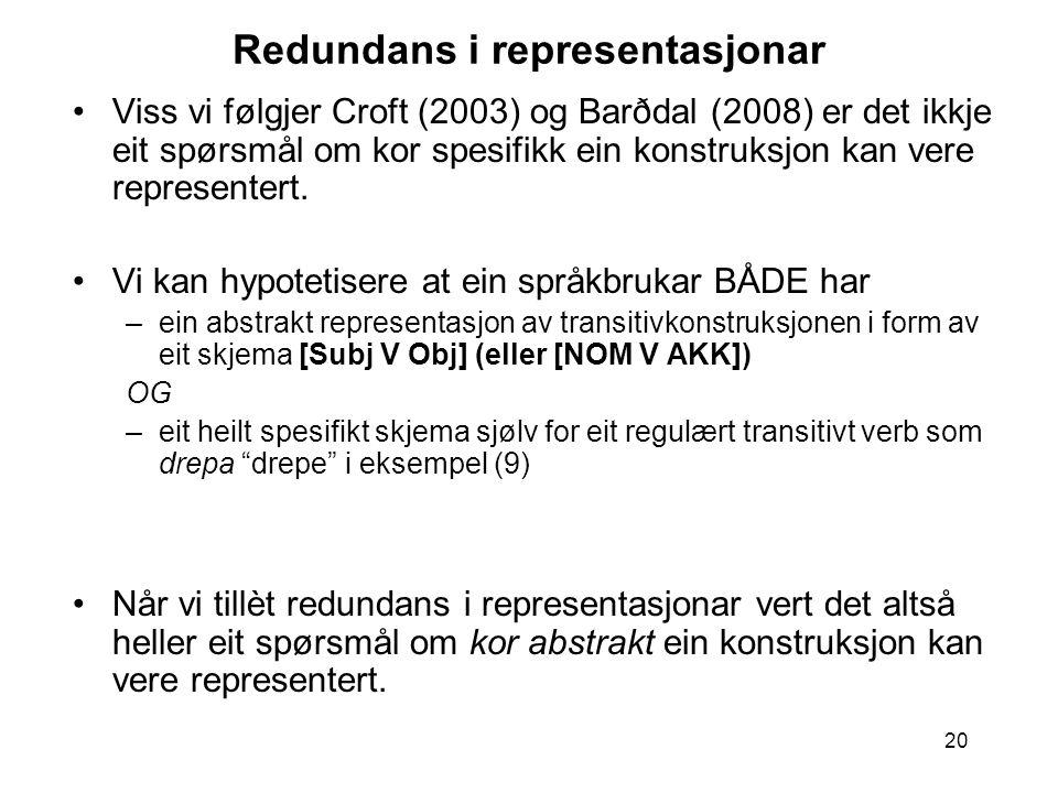 20 Redundans i representasjonar Viss vi følgjer Croft (2003) og Barðdal (2008) er det ikkje eit spørsmål om kor spesifikk ein konstruksjon kan vere representert.