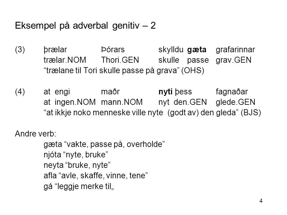 25 Semantisk-taksonomisk nettverk for adverbal genitiv