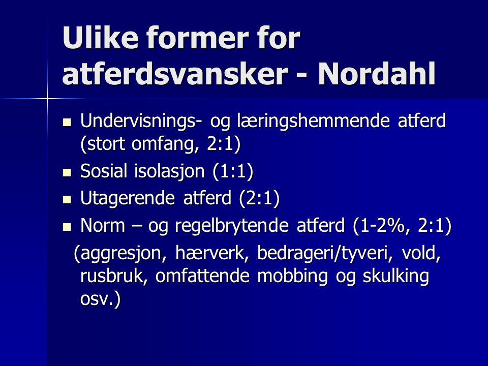 Ulike former for atferdsvansker - Nordahl Undervisnings- og læringshemmende atferd (stort omfang, 2:1) Undervisnings- og læringshemmende atferd (stort