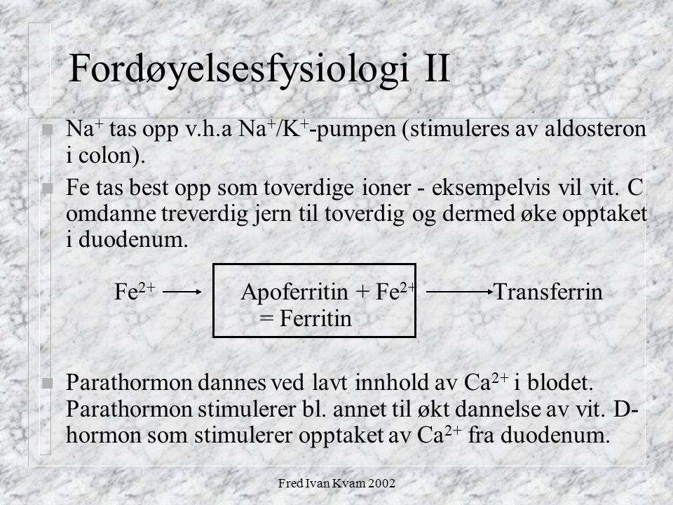 Fred Ivan Kvam 2002 Fordøyelsesfysiologi II n Na + tas opp v.h.a Na + /K + -pumpen (stimuleres av aldosteron i colon). n Fe tas best opp som toverdige