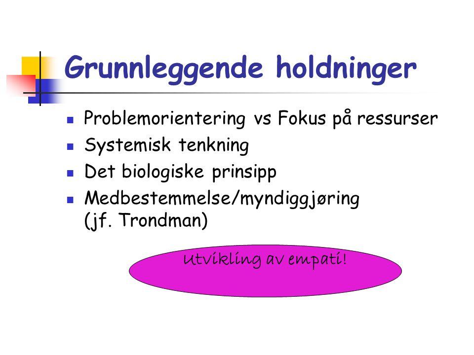 Grunnleggende holdninger Problemorientering vs Fokus på ressurser Systemisk tenkning Det biologiske prinsipp Medbestemmelse/myndiggjøring (jf. Trondma