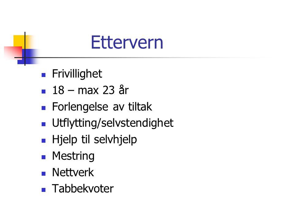 Ettervern Frivillighet 18 – max 23 år Forlengelse av tiltak Utflytting/selvstendighet Hjelp til selvhjelp Mestring Nettverk Tabbekvoter