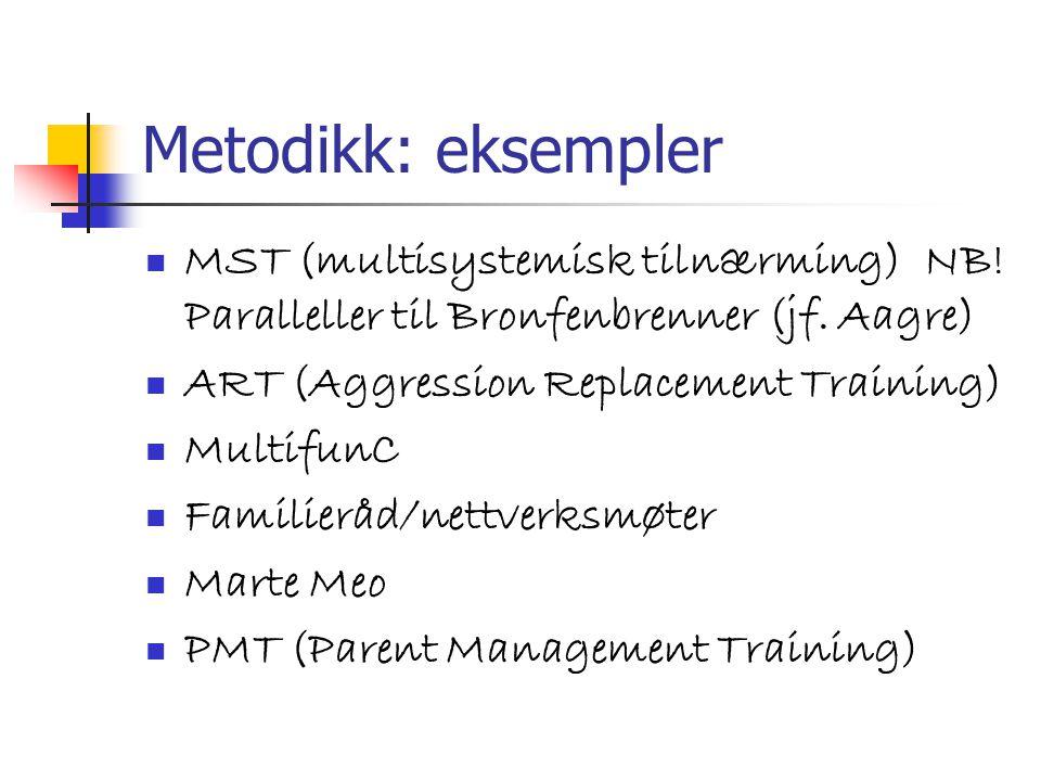 Metodikk: eksempler MST (multisystemisk tilnærming) NB! Paralleller til Bronfenbrenner (jf. Aagre) ART (Aggression Replacement Training) MultifunC Fam