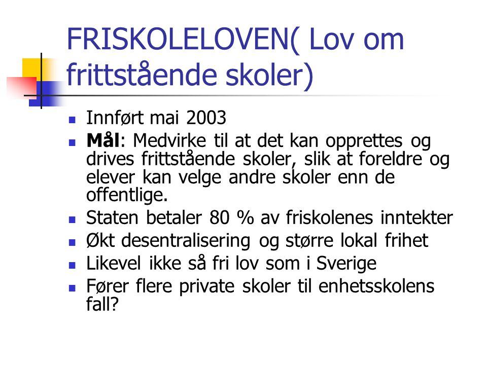 FRISKOLELOVEN( Lov om frittstående skoler) Innført mai 2003 Mål: Medvirke til at det kan opprettes og drives frittstående skoler, slik at foreldre og