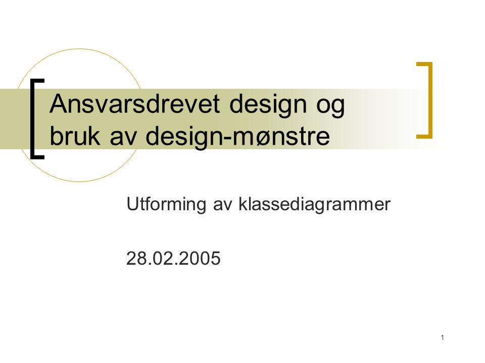 1 Ansvarsdrevet design og bruk av design-mønstre Utforming av klassediagrammer 28.02.2005