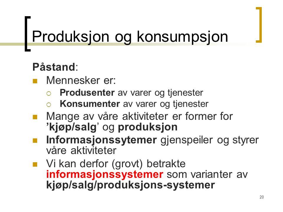 20 Produksjon og konsumpsjon Påstand: Mennesker er:  Produsenter av varer og tjenester  Konsumenter av varer og tjenester Mange av våre aktiviteter er former for 'kjøp/salg' og produksjon Informasjonssytemer gjenspeiler og styrer våre aktiviteter Vi kan derfor (grovt) betrakte informasjonssystemer som varianter av kjøp/salg/produksjons-systemer
