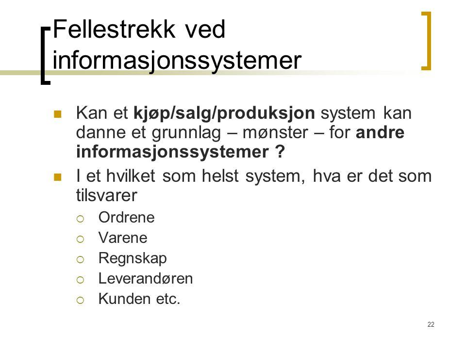 22 Fellestrekk ved informasjonssystemer Kan et kjøp/salg/produksjon system kan danne et grunnlag – mønster – for andre informasjonssystemer .