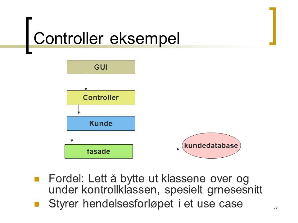 37 Controller eksempel Fordel: Lett å bytte ut klassene over og under kontrollklassen, spesielt grnesesnitt Styrer hendelsesforløpet i et use case GUI Controller Kunde fasade kundedatabase
