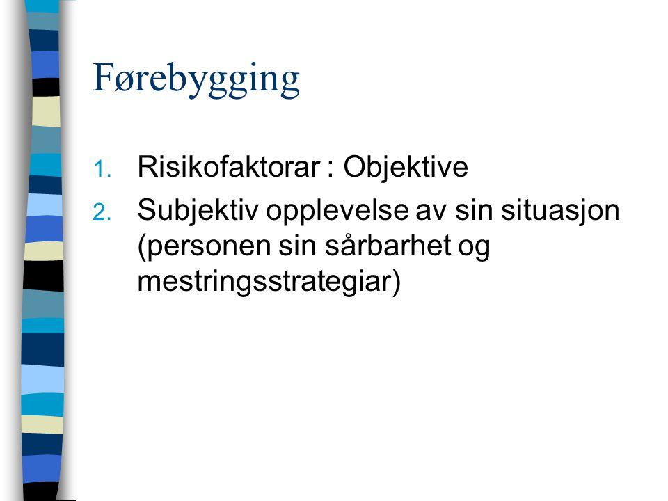 Førebygging 1.Risikofaktorar : Objektive 2.