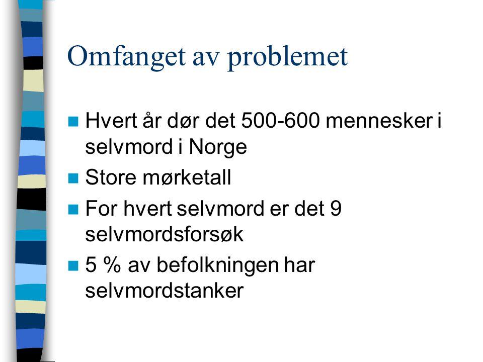 Omfanget av problemet Hvert år dør det 500-600 mennesker i selvmord i Norge Store mørketall For hvert selvmord er det 9 selvmordsforsøk 5 % av befolkningen har selvmordstanker